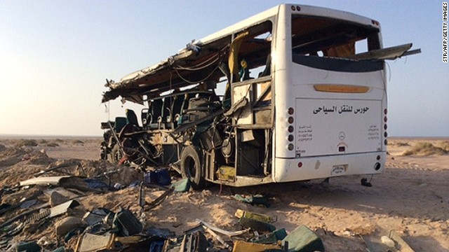 The wreckage of a bus after two tourist buses collided in northeastern Egypt, on August 22, 2014.