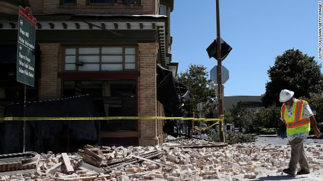 Dan Kavarian, chief building official with the City of Napa, surveys a building on August 24 in Napa.