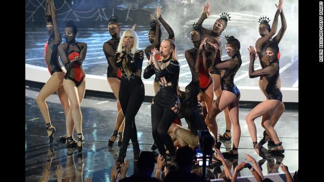 Iggy Azalea, right, and Rita Ora perform at the 2014 MTV Video Music Awards.