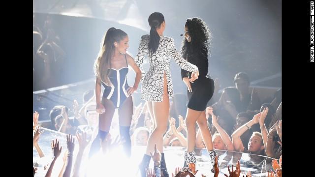 Ariana Grande, Jessie J and Nicki Minaj perform at the 2014 MTV Video Music Awards.