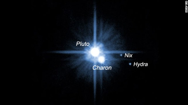 The five known moons of Pluto are: Charon, Nix, Hydra, Kerberos and Styx