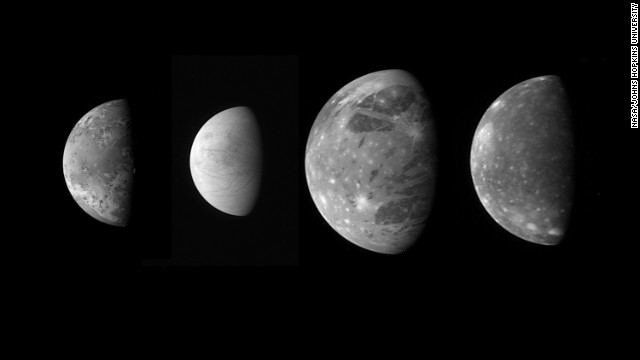 "On its way to Pluto, New Horizons snapped these photos of Jupiter's four large ""Galilean"" moons (from left): Io, Europa, Ganymede and Callisto."