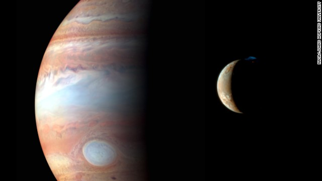New Horizons snapped this photo of Jupiter and its volcanic moon Io in early 2007.