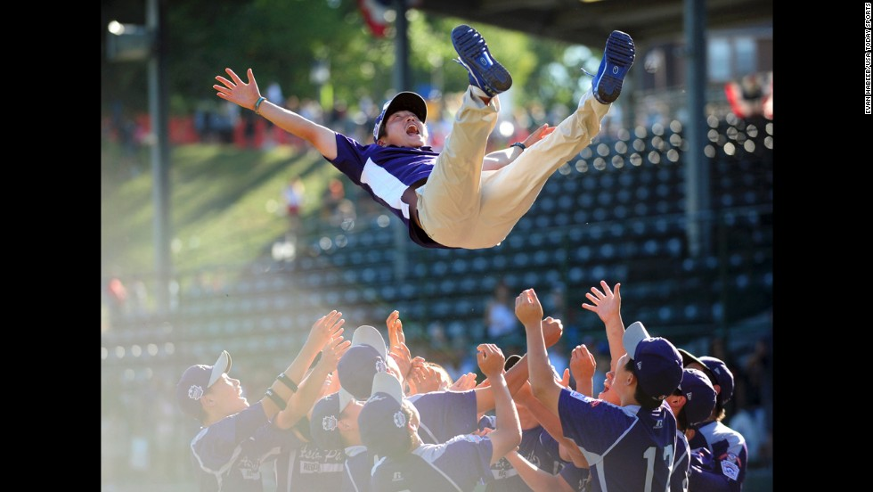 Asia-Pacific Region players celebrate after defeating the Great Lakes Region 8-4 in the Little League World Championships on Sunday, August 24, in South Williamsport, Pennsylvania.