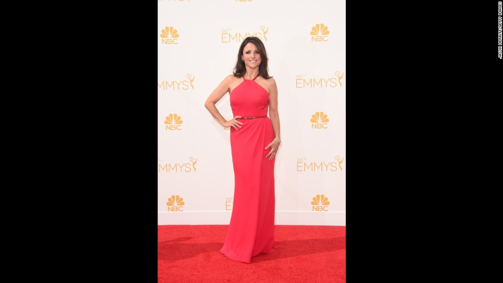 """Stars such as """"Veep""""s"""" Julia Louis-Dreyfus arrived in style at the 66th Emmy Awards on August 25. Take a look at some of the best red carpet looks (TV shows the star is known for are noted in parentheses)."""