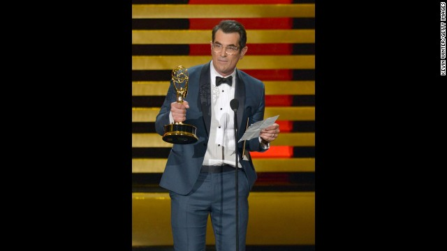 """Modern Family's"" Ty Burrell won the first award of the night, and accepted his Emmy for outstanding supporting actor in a comedy with a speech supposedly written by his kid co-stars. ""I also want to thank my two children that I bring to set sometimes,"" Burrell read from his mock (or so we assume) speech. ""They are definitely cute. They are just not 'I can support my whole family' cute."""