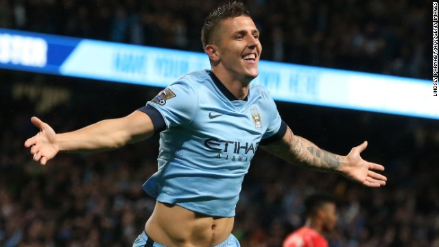 Stevan Jovetic scored twice for Manchester City in its 3-1 win over Liverpool.
