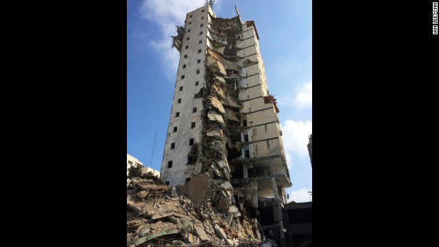 "GAZA CITY: ""A 15-story building (one of Gaza's tallest apartment and office buildings) destroyed last night by an Israeli airstrike. Luckily there were no fatalities. They were given prior warning that the building would be destroyed."" - CNN's Ian Lee, August 26. Follow Ian (<a href='http://instagram.com/ianjameslee' target='_blank'>@ianjameslee</a>) and other CNNers along on Instagram at <a href='http://instagram.com/cnn' target='_blank'>instagram.com/cnn</a>."