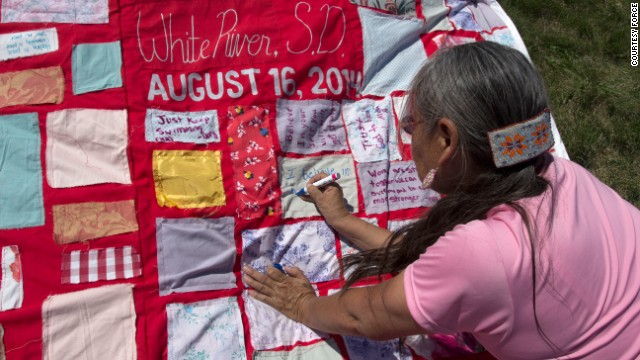 The Monument Quilt was displayed in White River, South Dakota, on Saturday, August 16, in partnership with the White Buffalo Calf Woman Society, Tokala Inajinyo Suicide Prevention Mentoring Program and the Defending Childhood Initiative.
