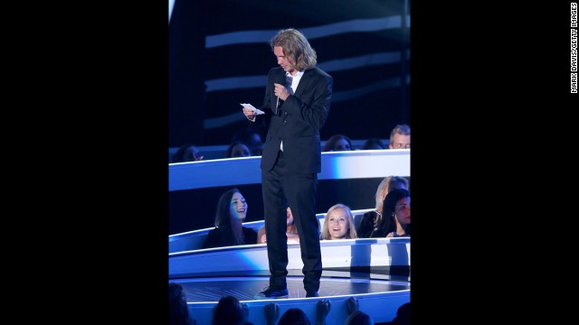 Helt reads a speech about the issue of youth homelessness as he accepts Cyrus' award. He is<a href='http://abcnews.go.com/US/meet-homeless-man-accepted-miley-cyrus-vma-award/story?id=25114619' target='_blank'> reportedly a representative of My Friend's Place</a>, an organization that aids homeless youth and it is there that he and the singer met.