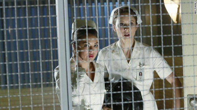 """Pretty Little Liars"" fans were ready for a death in the fifth midseason finale, but that didn't make it any easier. In the August 26 episode, one-time ""A"" Mona Vanderwaal (Janel Parrish, left) <a href='http://www.mtv.com/news/1913683/pretty-little-liars-fatal-finale-questions/' target='_blank'>was killed off.</"