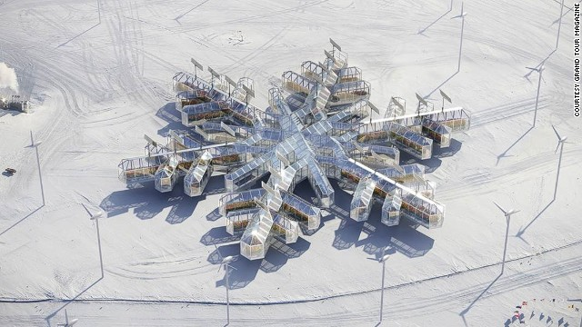 Antarctica is the first continent ever to be represented at the Biennale, artists and architects explore the future of the continent. A snowflake-shaped greenhouse is pictured in Antarctica.
