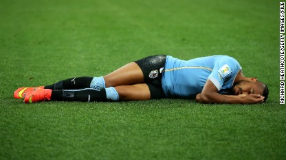 Uruguay's Alvaro Pereira was one of five documented cases of concussion at Brazil 2014, say FIFA.