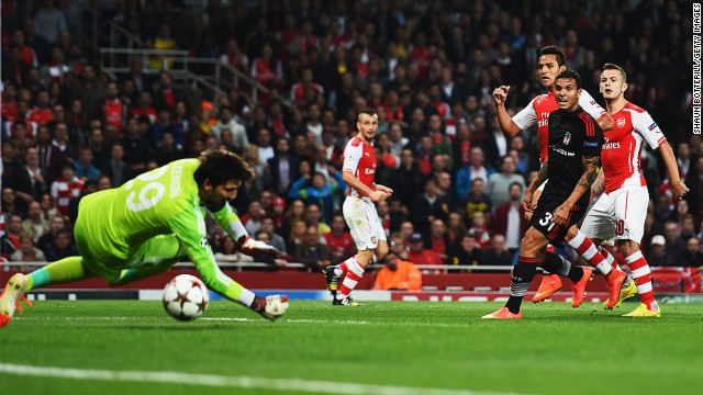 Alexis Sanchez fires home his first goal for Arsenal in its Champions League tie with Besiktas.
