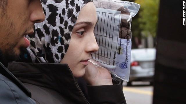 In this Oct. 13, 2014 file photo, Ailiana Tsarnaev, sister of Boston Marathon bombing suspect Dzhokhar Tsarnaev, departs district court in Boston.