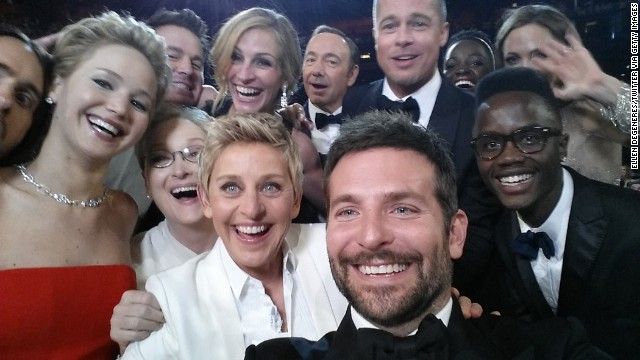 Pitt and Jolie, upper right, take part in a mass selfie with other movie stars during the Academy Awards in March.