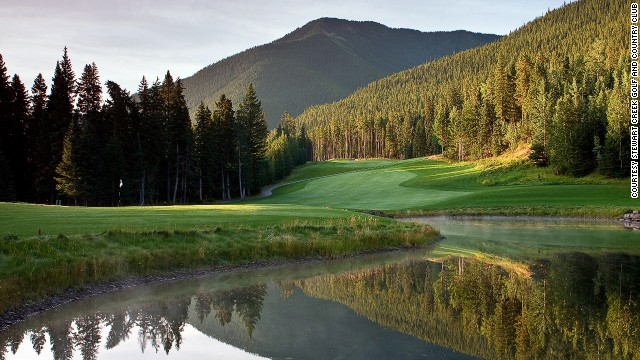Built on an abandoned coal mine, Stewart Creek Golf and Country Club is rugged and rewarding. A massive three-peak wall known as The Three Sisters hovers over the property.