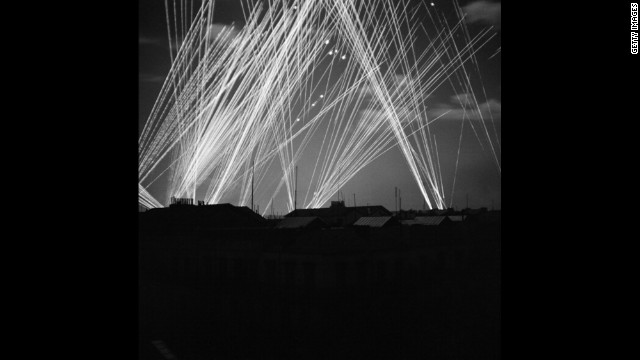 Anti-aircraft fire glows over Algiers during a night raid on November 23, 1942. In 1942, the Allies stopped the Axis advance in North Africa and the Soviet Union.