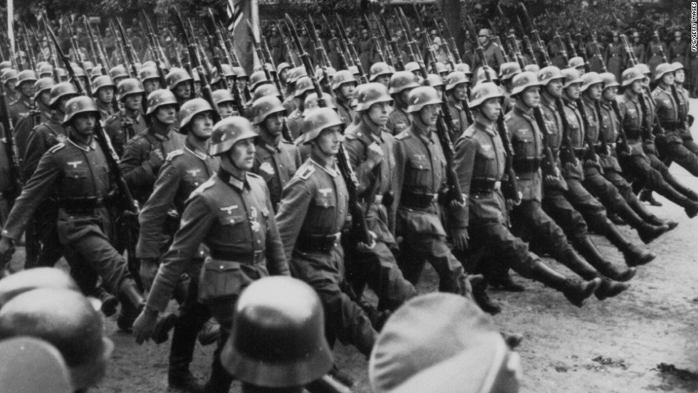German troops march through occupied Warsaw, Poland, during World War II, circa 1939. September 1 marks the 75th anniversary of the start of World War II. In 1939, Germany invaded Poland. Denmark, Luxembourg, the Netherlands, Norway and Belgium soon came under German control, and when France fell less than a year later, Britain was the only nation left in Western Europe to oppose Adolf Hitler's Third Reich. Click through for key photos from the war.