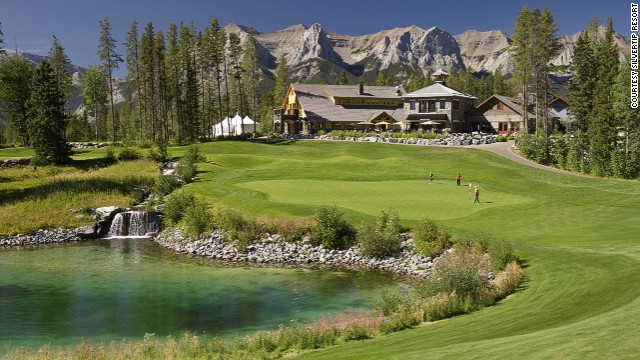 The clubhouse deck at Silvertip Resort offers one of the most spectacular views in golf. Front row seats overlook the 18th hole.