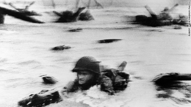 U.S. troops assault Omaha Beach during the invasion of Normandy on June 6, 1944. D-Day, in which Allied forces landed on five beaches -- Utah, Omaha, Juno, Gold and Sword -- marked the beginning of a Western front in the European Theater. The landing included over 5,000 ships, 11,000 airplanes and 150,000 soldiers. More than 35,000 Allied troops were killed during the Normandy Campaign, which lasted till the end of August 1944.