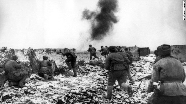 Soviet soldiers advance against the German army during the Battle of Stalingrad. The battle for the city in on the Volga River (present-day Volgograd) was a major defeat for Germany and a turning point in the war. The lasted more than five months, ending in February 1943, at the cost of at least 160,000 German soldiers killed or captured. However, even conservative estimates of Russian casualties are much higher.