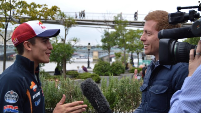 After racing across the Millennium Bridge, the Honda rider found time for an interview with CNN's Jonathan Hawkins.