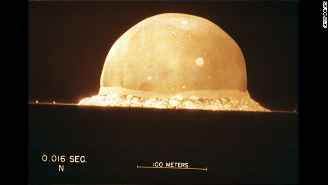 A photograph on display at the Bradbury Science Museum shows the first instant of the first atomic bomb test, on July 16, 1945, at 5:29 a.m. at Trinity Site in New Mexico. On July 29, 1945, President Harry Truman warned Japan that the country would be destroyed if it would not surrender unconditionally. Japan continued fighting.