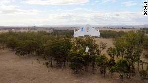 Google\'s Project Wing prototype testing delivery by drone on a farm in Australia.
