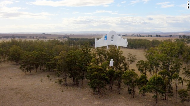 Google's Project Wing prototype tests delivery by drone on a farm in Australia.