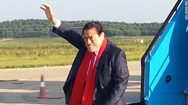 Retired wrestler turned Japanese lawmaker Antonio Inoki arrives in Pyongyang.