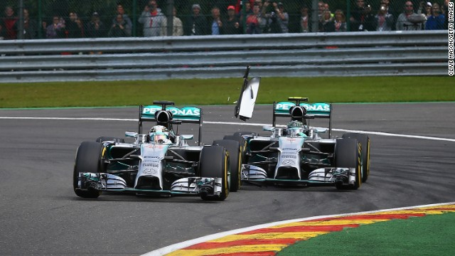 There was more drama at the Belgium Grand Prix when Rosberg clipped the back of Hamilton's car in a battle for the lead. Rosberg later apologized for the incident.