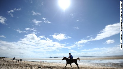 A rider takes part in the 160 km endurance competition of the 2014 FEI World Equestrian Games near Mont-Saint-Michel on August 28, 2014 in Genets, northwestern France