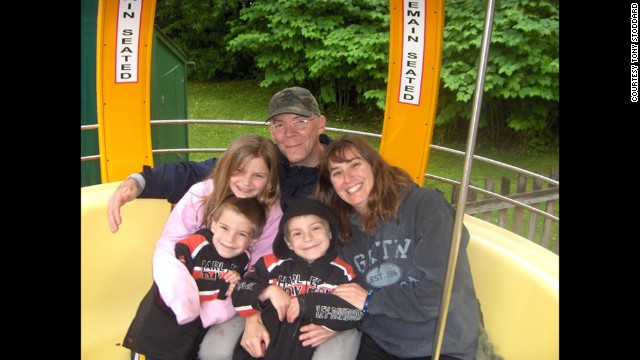 The Stoddard family hangs out at Story Land theme park in New Hampshire. Clockwise from top: Tony and Michelle Stoddard, and their children Cole, Troy and Tara.