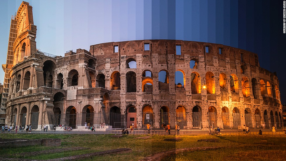 <i>The Coliseum, Rome</i><!-- --> </br><!-- --> </br>Photographer <a href='http://www.richardsilverphoto.com/' target='_blank'>Richard Silver</a> has a pretty sweet job. He spends his time touring the world and its most famous landmarks shooting images at the most tranquil hour of sunrise and the dying moments of sunset. His ongoing photo series, <a href='http://www.richardsilverphoto.com/Portfolios/Time-Sliced/' target='_blank'>Time Sliced</a>, is an attempt to capture the fleeting beauty of day-to-night transitions, where 36 photos taken from dawn till dusk are spliced together to form a single image. By <strong>Monique Todd</strong>, for CNN