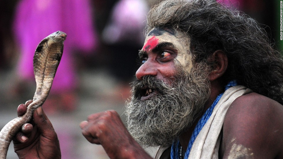 AUGUST 29 - SANGAM, INDIA: A snake charmer waits for alms from devotees during the Teej festival. Married women in Nepal and some parts of India fast and pray for long lives for their husbands during the three-day long festival, while unmarried women wish for handsome husbands and happy conjugal lives.