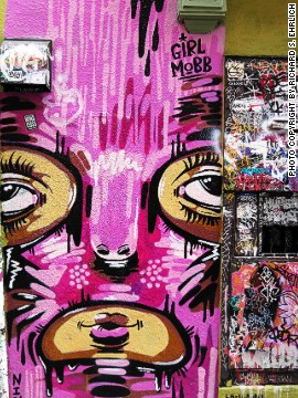 This large, pristine mural on Clarion Alley in the Mission District coexists next to the chaos of multiple tags.