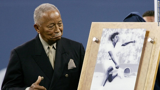 Gibson died age 76 in 2003. Here her longtime friend, former New York City Mayor David Dinkins, unveils an award in her memory at the 2004 U.S. Open.