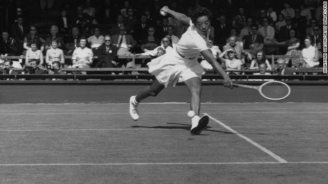 Gibson's successes helped her become the world's top-ranked women's player. In this picture, she plays at the Wightman Cup staged at the All England Tennis Club in 1958.