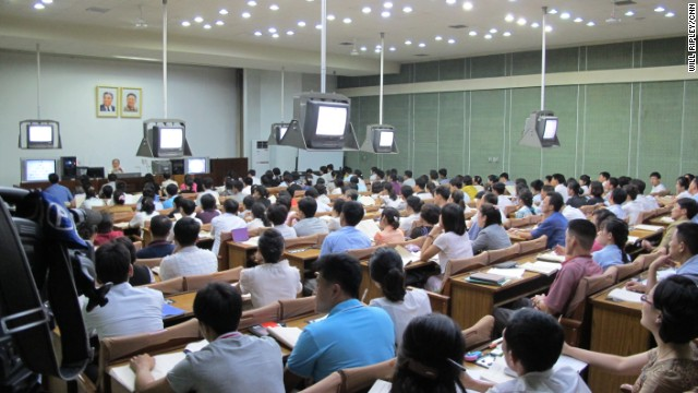 North Koreans in an English lecture at the Grand People's Study House.