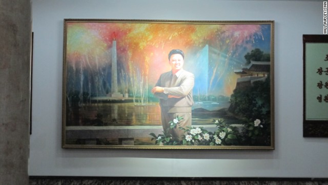 A portrait of the late leader Kim Jung Il at the Grand People's Study House in Pyongyang.