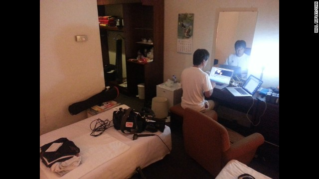 PYONGYANG, NORTH KOREA: CNN's Cameraman/Editor Hidetaka Sato working hard in his hotel room turned edit suite. Photo by CNN's Will Ripley, August 30. CNN is in Pyongyang for the International Pro Wrestling Festival. For more captures from North Korea, follow Will (<a href='http://instagram.com/willripleycnn' target='_blank'>@willripleycnn</a>) & CNN's Tim Schwarz (<a href='http://instagram.com/tjschwarz' target='_blank'>@tjschwarz</a>) along on Instagram.