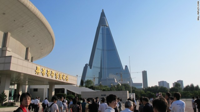 The 105 story Ryugyong Hotel sits unfinished 27 years after construction began in 1987 and was halted by the North Korea economic crisis of 1992. The exterior was completed in 2011 but the hotel has yet to open.