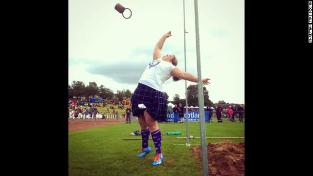 DUNOON, SCOTLAND: 'Weight over the barn' one of six competitions at the Cowal Highland games. The weight is 12.5 kilos. Photo by CNN's Christian Streib, August 30. Follow Christian (<a href='http://instagram.com/christianstreibcnn' target='_blank'>@christianstreibcnn</a>) and other CNNers along on Instagram at <a href='http://instagram.com/cnn' target='_blank'>instagram.com/cnn</a>.