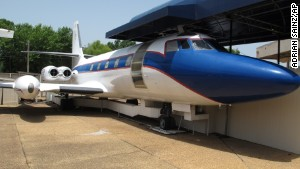 The Hound Dog II, one of two jets once owned by late singer Elvis Presley on display at Graceland in Memphis, Tennessee.