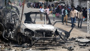 The site of a major car bomb and gun attack against an intelligence headquarters and detention facility in Mogadishu on August 31, 2014.