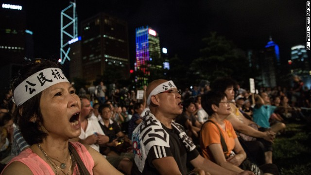 Hong Kong protesters say the Chinese government's proposal breaks the promise of full universal suffrage for Hong Kong, as agreed upon in 1997 when the British handed Hong Kong back to China.