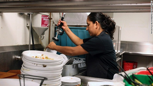 Dishwashers are often the lowest-paid yet hardest-working restaurant employees.
