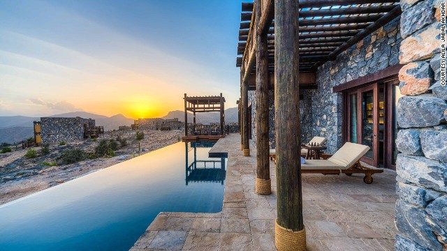 Perched 2,000 meters above sea level, Oman's Alila Jabal Akhdar overlooks a dramatic gorge and neighboring Al Hajar mountains. The Jabal Terrace has the best views.