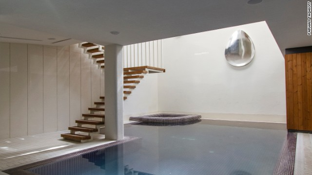"""Below the rotating rooms, the """"wellness areas"""" provide a place for the inhabitants to relax."""